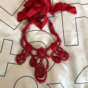 Lanvin x H&M bib chandelier necklace Red stunning